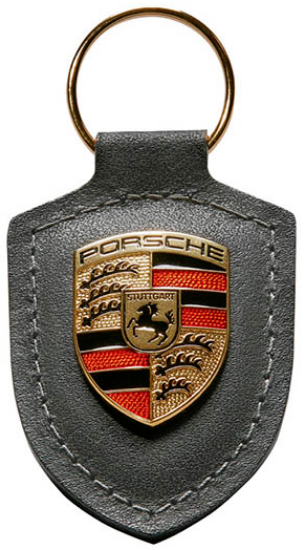 Picture of Crest Keyring Leather Grey