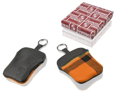 Picture of Orange Tartan Key Pouch with Embossed Porsche Crest