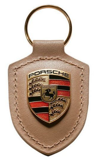 Picture of Crest Keyring Leather Beige