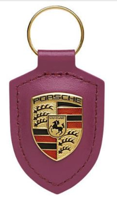 Picture of Crest Keyring Leather Ruby