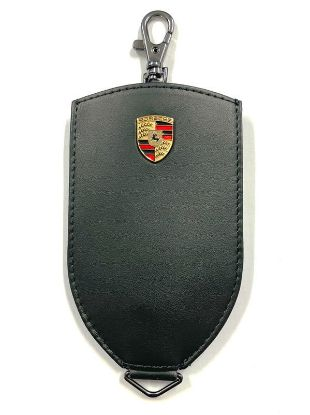 Picture of Key Pouch, Crest, Leather, Black